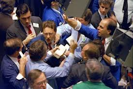 The young gentlemen in Wall Street here shown engaging in, as always civilized, give and take, over bulls and bears and politics.