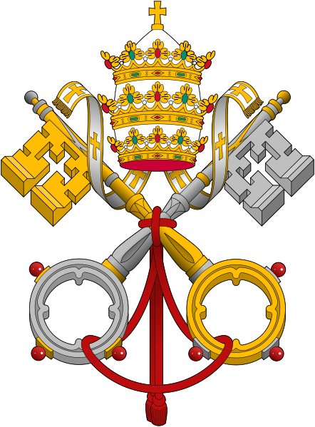 "The crossed keys symbolize the keys of Simon Peter. The keys are gold and silver to represent the power of binding and loosing given to the Church. The triple crown (the tiara) represents the pope's three functions as ""supreme pastor"", ""supreme teacher"" and ""supreme priest"". The gold cross surmounting the triple crowns symbolizes the crucifixion of Jesus"