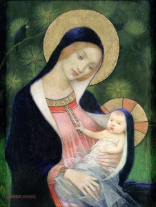 Christmas season artwork: Madonna and child painting by Marianne Stokes